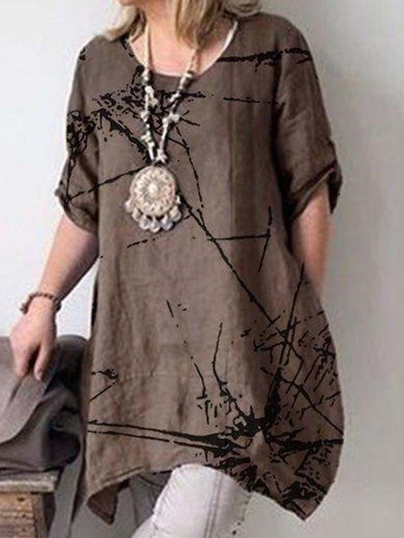 Ericdress Round Neck Mid-Length Loose Casual T-Shirt