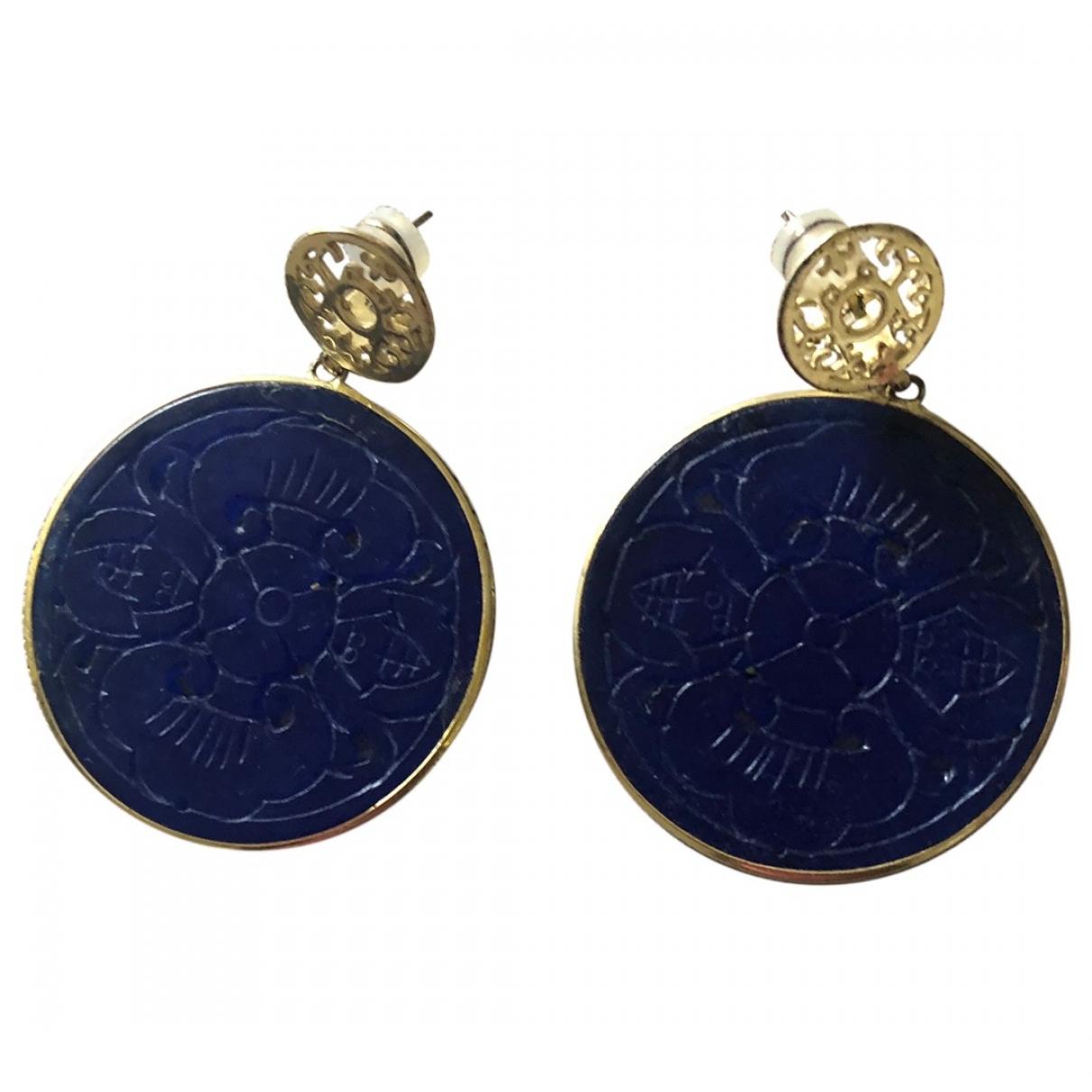 Non Signe / Unsigned Lapis lazuli OhrRing in  Blau Metall