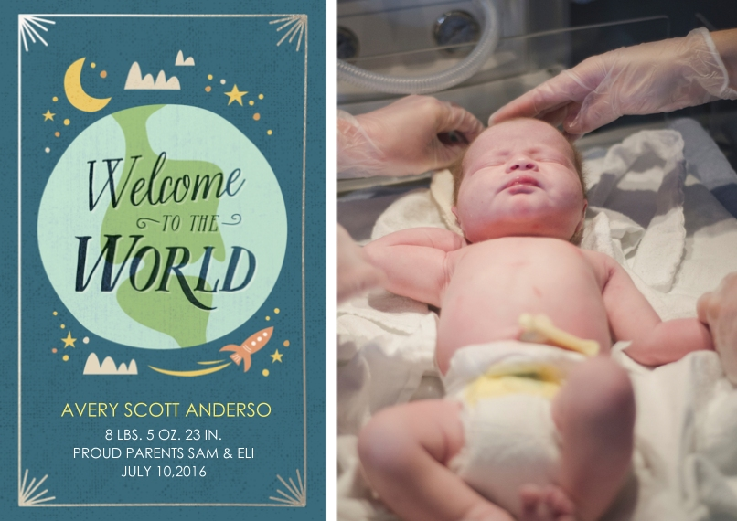Newborn 5x7 Cards, Standard Cardstock 85lb, Card & Stationery -Welcome to The World Blue