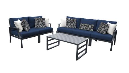 Lexington LEXINGTON-06m-NAVY 6-Piece Aluminum Patio Set 06m with 2 Left Arm Chairs  2 Right Arm Chairs  1 Armless Chair and 1 Coffee Table - Ash and
