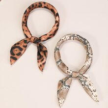 2pcs Leopard Pattern Bow Knot Hair Tie