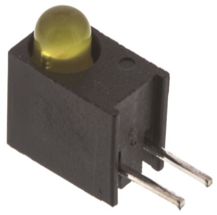 Dialight 551-1207F, Yellow Right Angle PCB LED Indicator, Through Hole 1.8 V