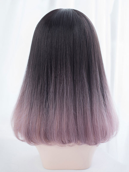 Milanoo Straight Lolita Wig Blunt Fringe End Curl Layered Ombre Harajuku Lolita Wig
