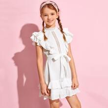 Kleid mit mehrschichtigem Raffungsaum, Guipure Spitzen und Guertel