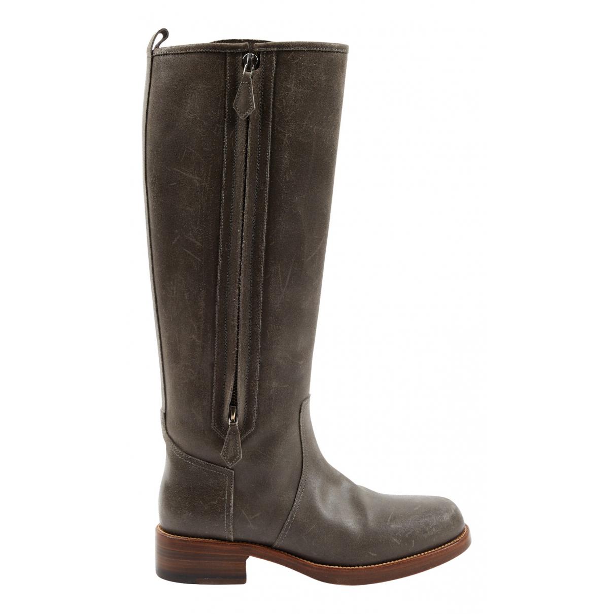 Hermès N Grey Leather Boots for Women 37 EU