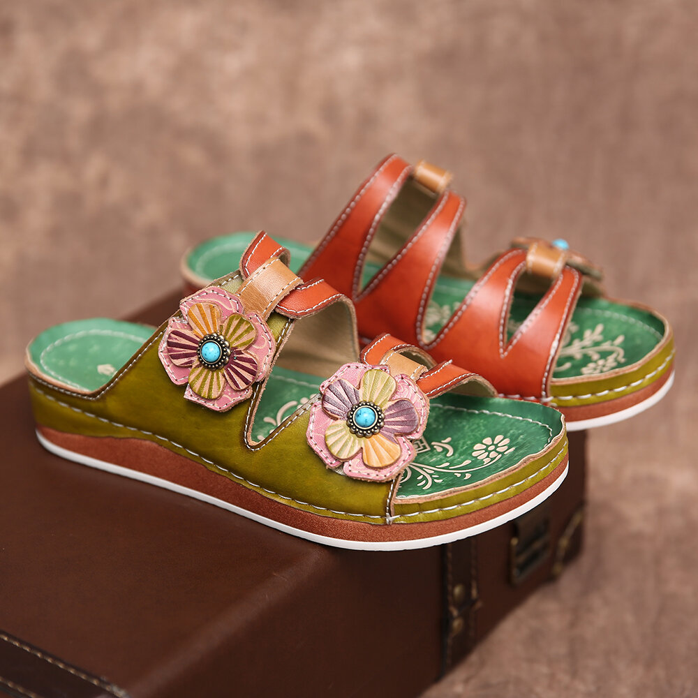 SOCOFY Retro Genuine Leather Floral Stitching Slip on Slides Flat Sandals