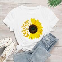 T-Shirt mit Schmetterling & Sonnenblumen Muster