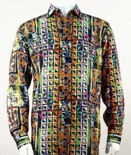 Full Cut Long Sleeve Floral Pattern Burgundy Fashion Shirt