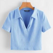 Einfarbiges Strick T-Shirt mit V Kragen