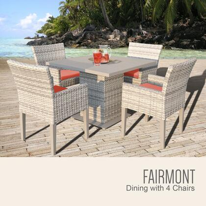 FAIRMONT-SQUARE-KIT-4DCC-TANGERINE Fairmont Square Dining Table with 4 Chairs with 2 Covers: Beige and