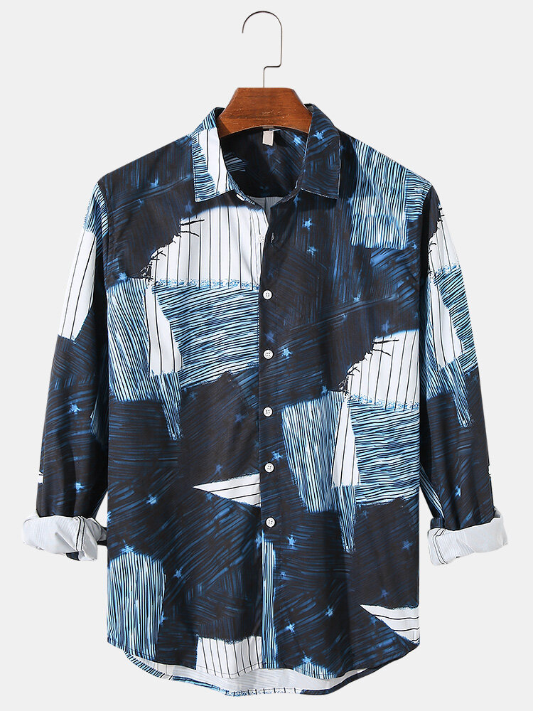Mens Colorblock & Striped Print Lapel Button Up Casual Long Sleeve Shirts