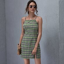 Zipper Side Split Hem Tartan Dress