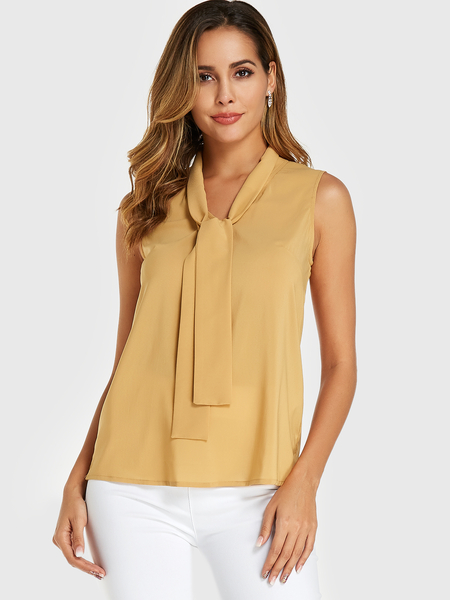 YOINS Yellow Tie-up design Chiffon Sleeveless Top