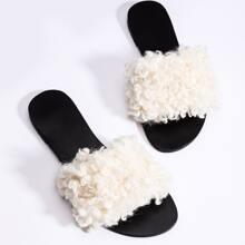 Open Toe Fluffy Slide Sandals
