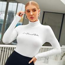 Turtle Neck Letter Graphic Top