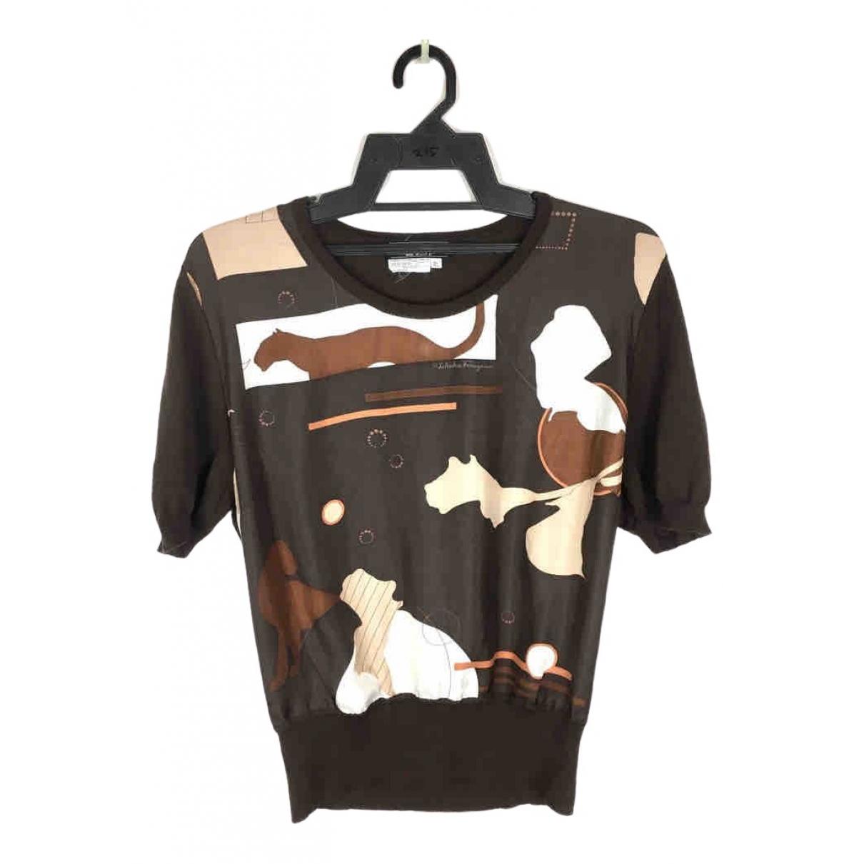 Salvatore Ferragamo \N Brown Silk  top for Women XL International