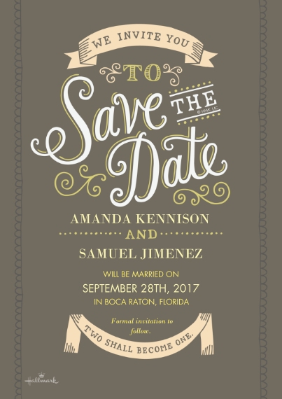 Save the Date 5x7 Cards, Premium Cardstock 120lb with Elegant Corners, Card & Stationery -Curly Lettering