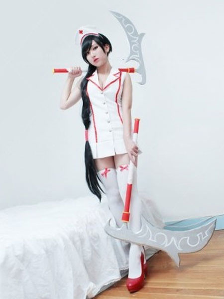 Milanoo LOL League Of Legends Akali Nurse Halloween Cosplay Costume