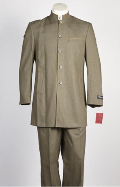 Mens Denim Jean 5 Button Single Breasted Suit Olive