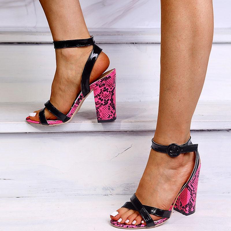 Ericdress Line-Style Buckle Open Toe Chunky Heel Casual Sandals