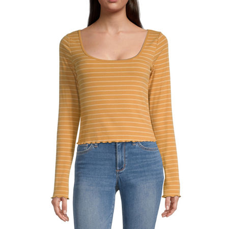 Arizona Juniors-Womens Scoop Neck Long Sleeve T-Shirt, Large , Yellow