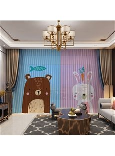 3D Carton Lovely Bear and Rabbit Printed Creative Designing 2 Panels Custom Sheer