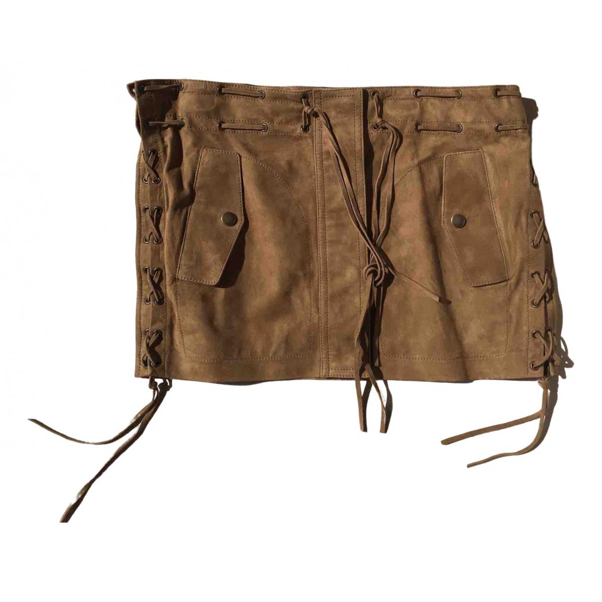 Saint Laurent \N Camel Suede skirt for Women 36 FR