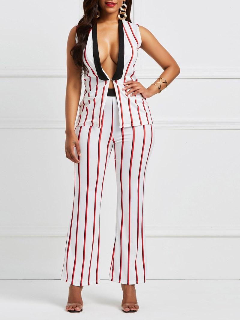 Ericdress Stripe V Neck Jacket and Pants Women's Suit