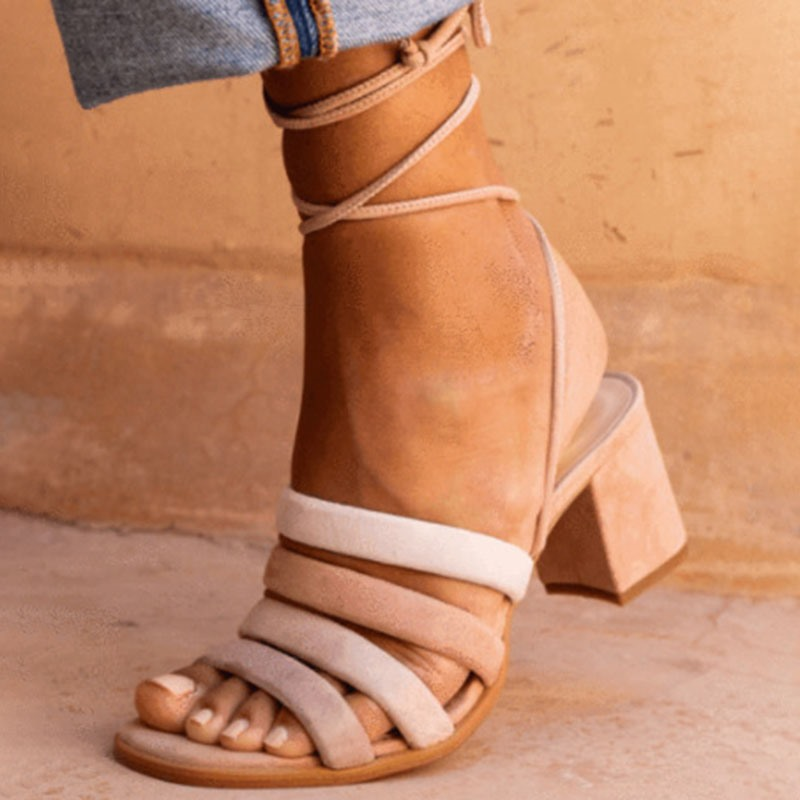 Ericdress Block Heel Open Toe Lace-Up Plain Sandals
