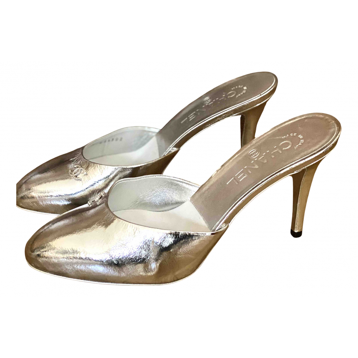 Chanel N Silver Leather Sandals for Women 39 EU