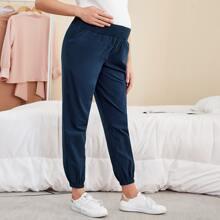 Maternity Hose mit breitem Taillenband und schraegen Taschen