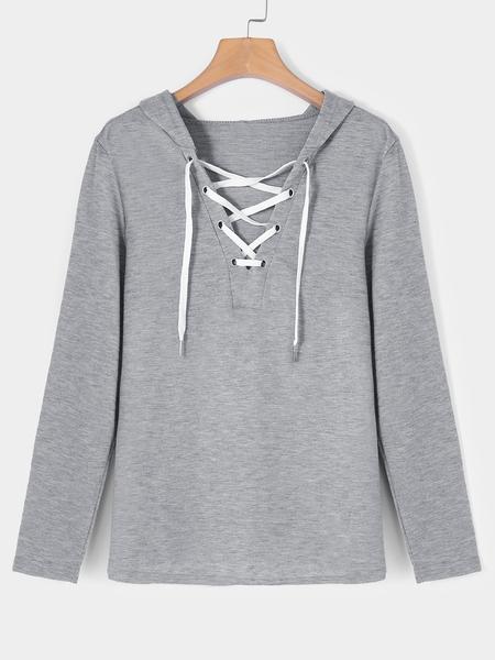 Yoins Grey Deep V-neck Lace-up Design Long Sleeves Hoodie