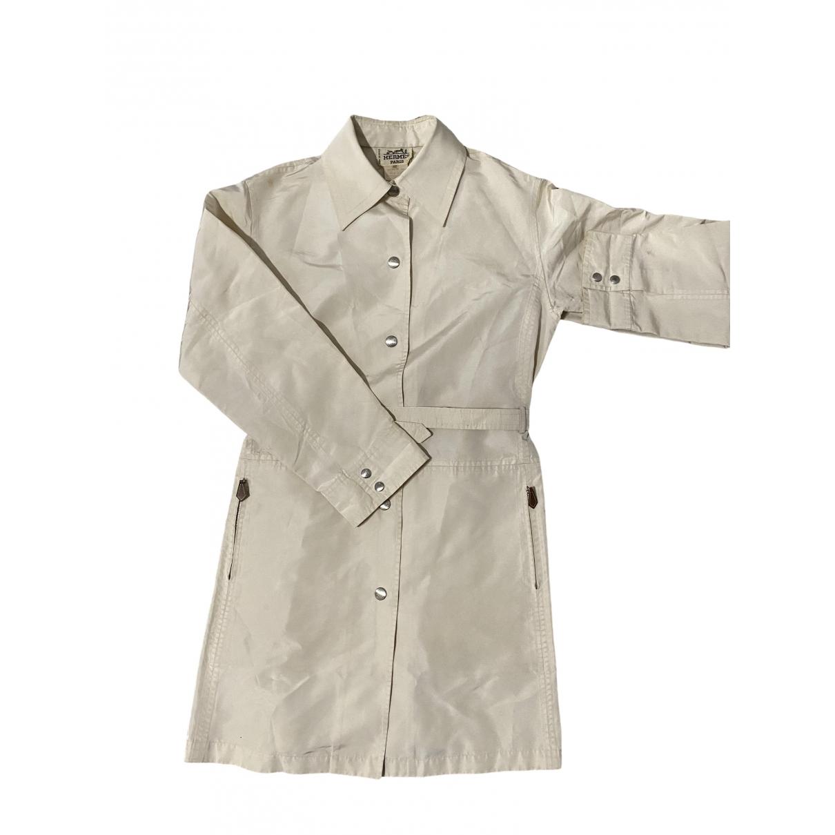 Hermes - Manteau   pour femme en soie - beige