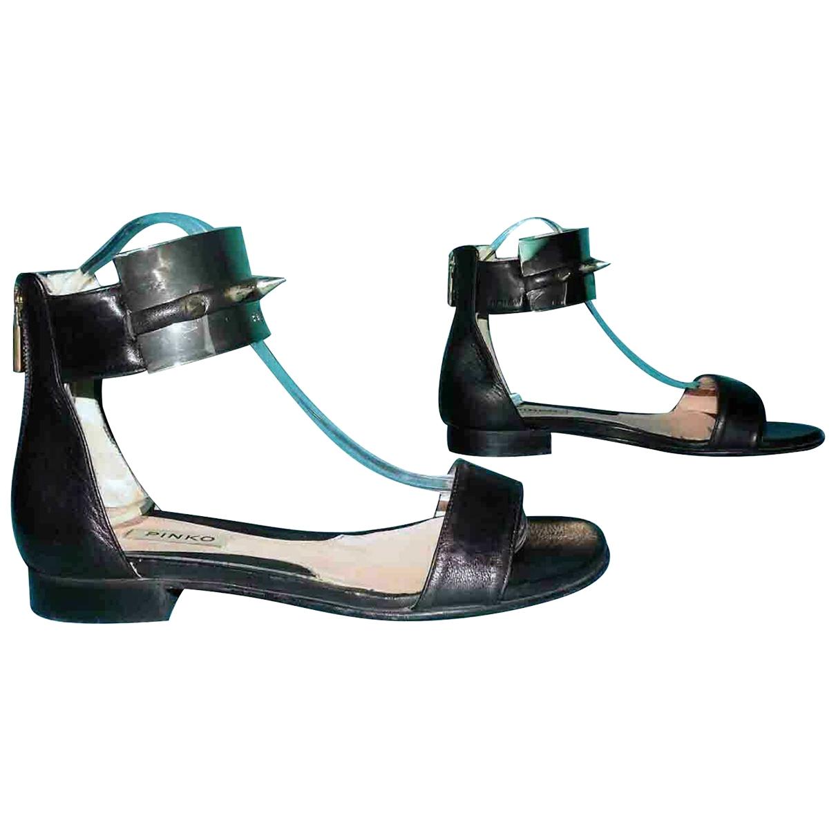 Pinko - Sandales   pour femme en cuir - noir