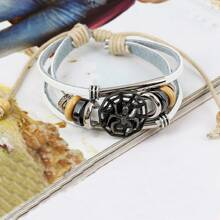 Men Spider Decor Layered Bracelet