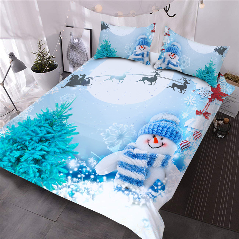 A White Snowman With Blue Wool Hat And Blue Scarf Printed 3-Piece Comforter Sets