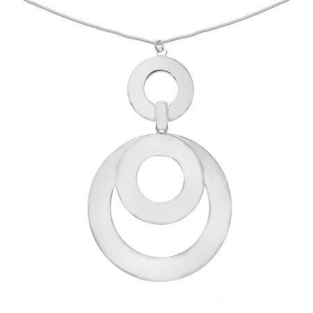 Liz Claiborne 32 Inch Snake Pendant Necklace, One Size , Silver