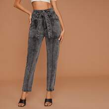 Button Fly Belted Tapered Jeans