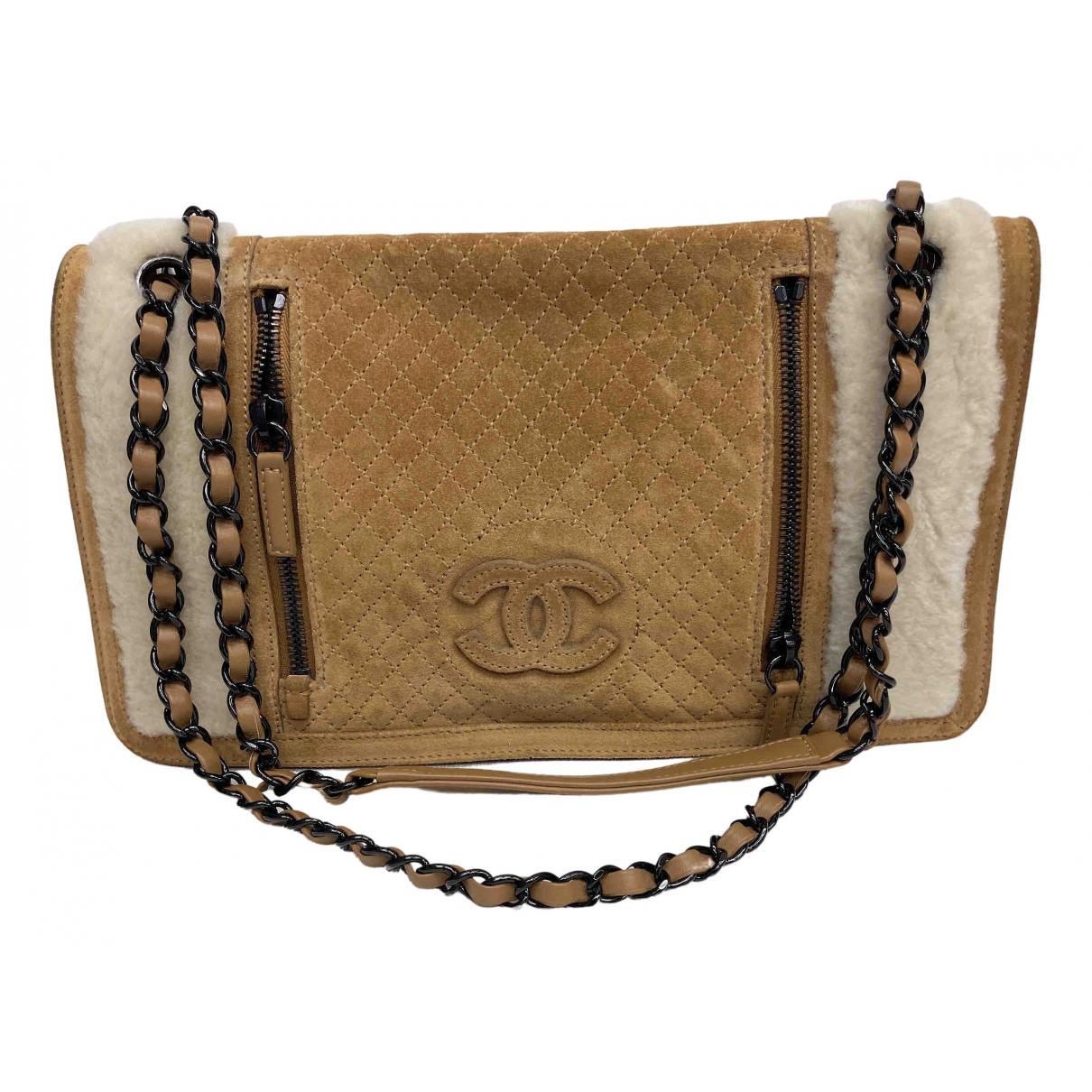 Chanel - Sac a main   pour femme en suede - camel