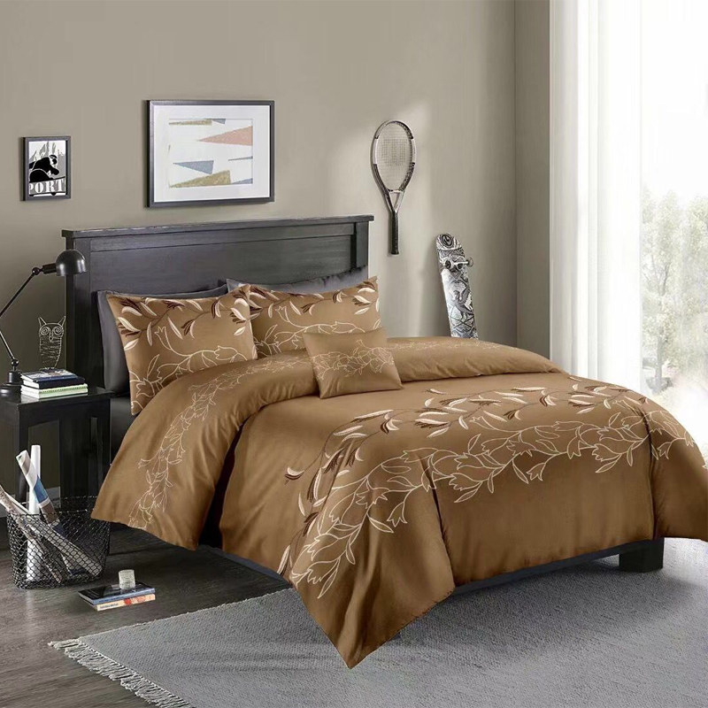 Simple Style Orchid Jacquard 6 Colors Optional Reactive Printing 3-Piece Polyester Beige Duvet Covers/Bedding Sets