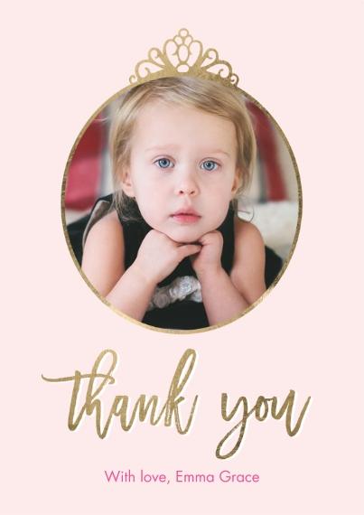 Kids Thank You Cards 5x7 Cards, Premium Cardstock 120lb, Card & Stationery -Thank You Set Princess Script
