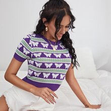 Butterfly And Striped Crop Knit Top