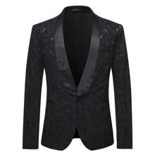 Men Jacquard Shawl Collar Single Button Blazer