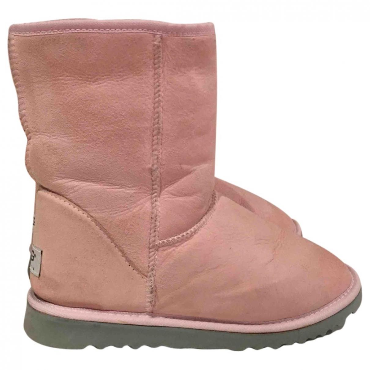 Ugg - Bottes   pour femme en cuir - rose