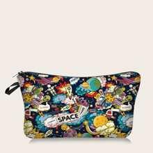 Makeup Tasche mit Raum & Planet Muster