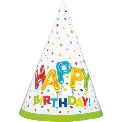 Happy Balloon Birthday Party Hats, 8ct Pour la fête d'anniversaire