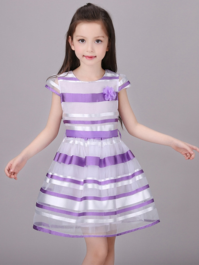 Ericdress Stripe Short Sleeve Girls Dress