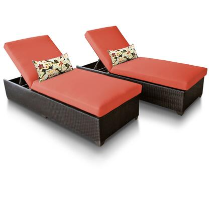 Barbados BARBADOS-2x-TANGERINE 2-Piece Outdoor Wicker Patio Chaise Set - Wheat and Tangerine