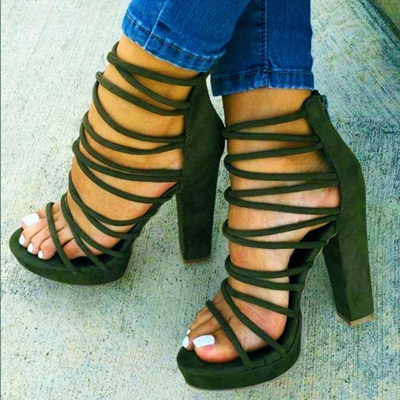 Ericdress Zipper Chunky Heel Women's Sandals