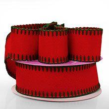 Red Felt W/Green Side Stitch Ribbon - 2-1/2 X 10 Yards - Acrylic - Embellishments & Trims by Paper Mart